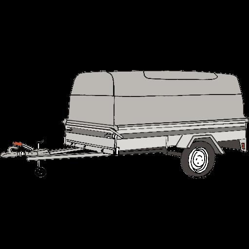 Släpvagn med kåpa, totalvikt 850 kg, bromsad